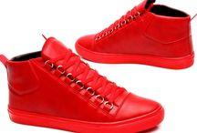 Heren-Rode-Hoge-Sneaker