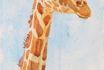 Акварель - Жирафики