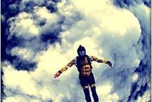 sky and parachutes