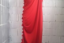 АГ_027 Платье-тога «Греческое» ассиметричное красное с пряжкой