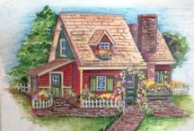 Art - Cottages. / Paintings of cottages, small to large, city and country, inside and out, gardens. / by Jenni Jordan