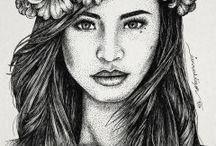 STIPPLING ARTWORKS / Artworks. Stippling. People. Portraits. Black and White.