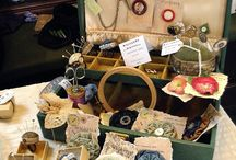 sewing boxes and ephemera / ideas for old sewing boxes and what to fill it with.