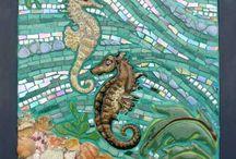 Sea horses mixed media