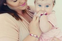 Like a mother like a daughter / Handmade bracelets, bow, elastic ribbon and silky ribbon