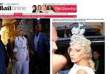 """The """"Lady Gaga"""" crown press & web articles / Lady Gaga made fashion statement appearing outside hotel Grande Bretagne in Athens - Greece on Friday 19 of September 2014 wearing a crown made by Pericles Kondylatos. The international superstar chose this Skull crown made by Swarovski crystals, pearls & sculls to complete her look as an alternative ancient Greek caryatid. A great honor for Greece and Pericles Kondylatos."""