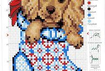 Собачки / Вышивка крестиком