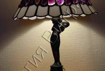 Светильники, витражи. Lamps, stained glass. Tiffany technique.