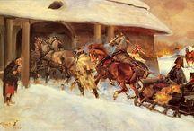 Konie w malarstwie / Zaprzęgi konne, konie w służbie człowieka, konie a wojna