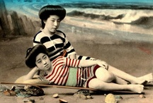 Women of Old Japan / This Set contains photos of GEISHA and MAIKO Posing as Bathing Beauties During the Meiji and Taisho Eras of Old Japan. For most of them, the identity of the photographers and models remain UNKNOWN -- a situation common to all categories of old Japanese postcards.