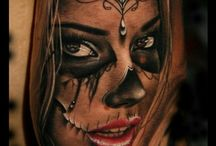 tattoo catrina and faces