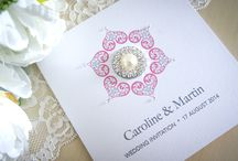 Wedding Stationery - Diamond Heart Collection / Our luxury handmade Diamond Heart collection is printed on premier pearl ice card decorated with high quality diamante embellishments and a truly stunning rhinestone & pearl cluster embellishment.  www.serendipityweddingdesign.co.uk