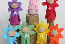 peg dolls bloemen