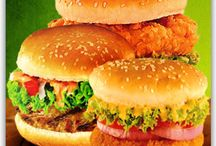 BURGER / Chicken flavor And deep fry patty burger. A nice break from typical hamburgers and much healthier for you. These chicken burgers are flavorful, and quite delicious. Served with Pollito's exclusive sauces.