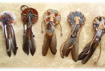 Feather work / Hair ties and fans.