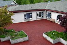 Landscaping Applications / Recycled rubber tiles being used for landscaping