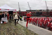Santas on the Run Bristol 2013 / 800 Santas brought Christmas cheer to a worthy cause by holding a fun run in Bristol's dockland.  The 600 adults and 200 youngsters are expected to raise about £30,000 for Children's Hospice South West.  #CHSW #santarun #bristol #charltonfarm #childrenshospice