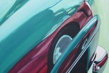 ARRETEZ DE ME REGARDER / VOITURE/Mercedes 190 sl/REFLETS/PEINTURE  Acrylique sur toile  80x60
