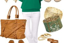 Outfit blanco, verde y café