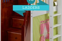 Kids Staircase & Ladder Beds / How do you want your child to get up to the top bunk or loft? There are quite a few climbing options available. Pro's & Con's of staircases vs. ladders - straight or angled!