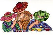 Motif femmes à chapeau