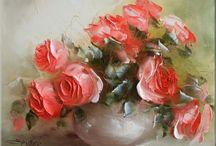 розы мастихином