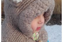 Knitted hoods and hats / knitting toddler bear hood cowl hat