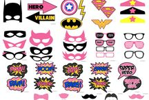 Girls Super Hero Party Ideas & Decorations / Girls Super Hero Superheroes Personalised Birthday Party Decorations Supplies Packs Shop Online Australia Banners Bunting Wall Display Cupcake Toppers Chocolate Wrappers Juice Water Pop Top Labels Posters Lanterns Invites Cup Stickers Ideas Inspiration Cake Table Katie J Design and Events Wonder Woman Super Girl Bat Girl Spider Girl Little Junior Baby DC Comics Super Girls Poison Ivy Katana
