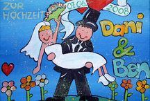 Hochzeit / Liebevoll handgemalte und personalisierte Bilder zur Hochzeit.