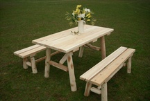 White Rustic Cedar Log Furniture / All Amish-made authentic cedar log furniture - ready to be stained, or just as it is for a natural, rustic look.  Available at Furniture Barn USA's cedar log furniture outlet store: http://furniturebarnusa.com/2-white-cedar-log-outdoor-rustic-amish-furniture