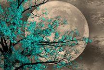blue tree moon art