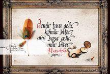 Atasözleri / Kaligrafi sanatı ile yazılmış atasözleri