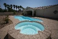"Mirage by San Juan Pools / Mirage   Width 15' 8"" / 4.78M Length 39' 8"" / 12.09M Depth 5' 4"" / 1.63M Area 466ft2 / 43.3M2 Volume 14,050G / 53,200L"