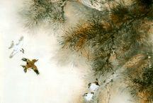 Art pictural James Tan  (fleurs et oiseaux) / Fleurs et oiseaux  école de Lingnan, inspiration chinoise  Artiste canadien