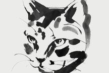 Animal black & white illustrations