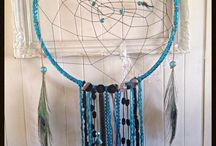 Dream catcher / Turquoise and black. Beads leather mirrors and feathers