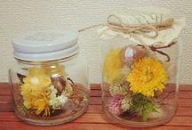 空き瓶、花