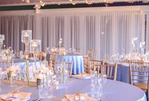 Powder Blue + Gold Wedding / Under a canopy of fairylights this powder blue and gold wedding was the perfect style for this riverside location. Upon custom floor length satin linen, sat an array of floating candles, mercury gold vases filled with white blooms and bud vases, cradling rose stems to add a romantic whimsy to the dining space. Custom stationary kept the rose theme consistent with table numbers and individual thank you notes with an added bomboniere.  Youtube: www.youtube.com/watch?v=2-cqj3D3WAc Enchanted Empire