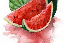 Fruits&Vegetables Watercolors Paintings
