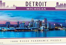 City Skyline 1000 pcs panoramic jigsaw puzzle / Enjoy our selection of panoramic skyline jigsaw puzzles:  Boston, Detroit, Baltimore, Pittsburgh, Salt Lake City, St. Louis, Portland, Seattle, San Francisco, New York City, Cincinnati, Chicago and Niagara Falls