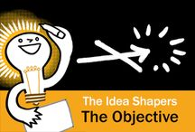 The Idea Shapers: The Objective / In her 2016 book The Idea Shapers, Brandy Agerbeck makes visual thinking attainable and enjoyable through a set of 24 Idea Shapers. The Objective is the first visual thinking concept in the first step, CHUNK.
