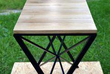 Console / Console, konsola, iron, wood, oak, industrial, furniture, minimalism, black, mat, stolik, stół, drewno, minimal, Kraina ES