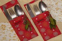 Porta cubiertos navideño