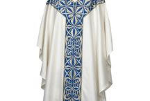 Chasubles / An ornate sleeveless outer vestment worn by a Catholic or High Anglican priest when celebrating Mass.