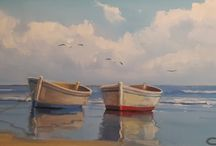 mar com barcos