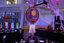 Basketball Themed Bar Mitzvah Party / centerpieces and decor for a basketball themed party