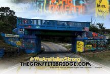 """The Graffiti Bridge / As far back as 1935, people have been decorating the 17th Ave Railroad Trestle. Like Picasso said, just about anything you can imagine becomes a reality on the bridge. Throughout generations, the bridge has seen its fair share of tributes, holidays, encouragement, drawings, insignias, love notes, congratulations, sports themes, and class of """"whatever year"""" messages."""