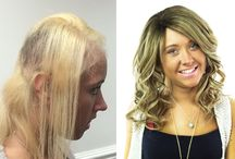 Before and After / Pictures of Hair Solved clients before having their Enhancer system  or extensions and after the fitting.