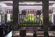 Дизайн интерьера кафе в стиле модерн / Пожелания заказчика: в дизайне интерьера кафе в стиле модерн максимально применить любимый сиреневый цвет.