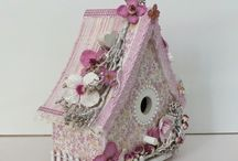 Inside decorative birdhouses